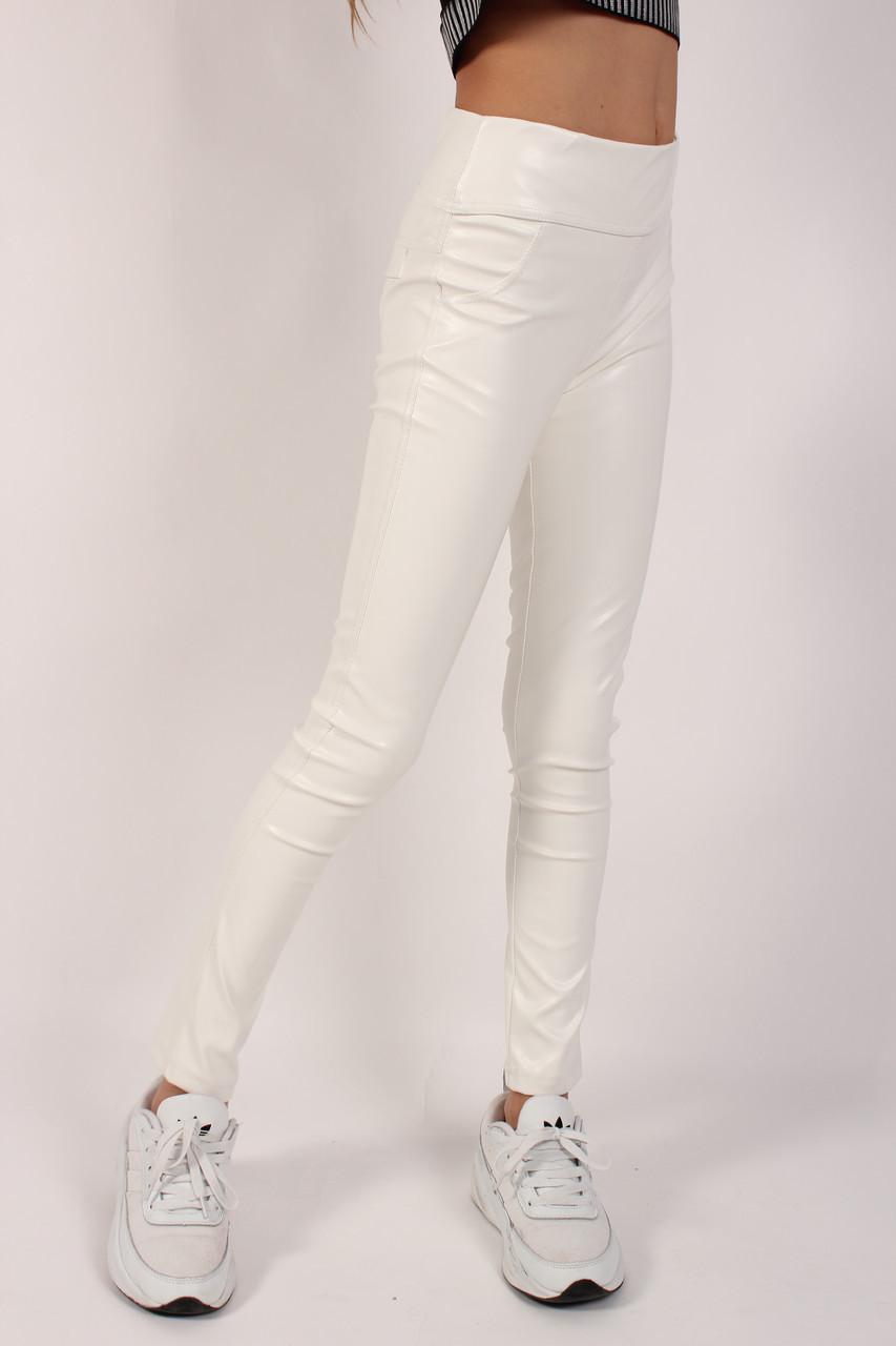 Лосины детские белые экокожа №9104.2 для девочки (8-13 лет) с обманчивыми карманами