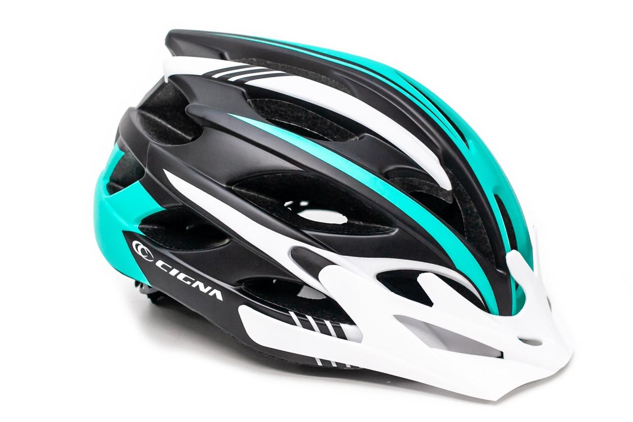 Шлем велосипедный с бел. козырьком СIGNA WT-016 черно-бело-бирюзовый, Размер L (58-61 см.)