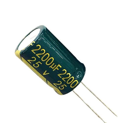 10x Конденсатор электролитический алюминиевый 2200мкФ 25В 105С