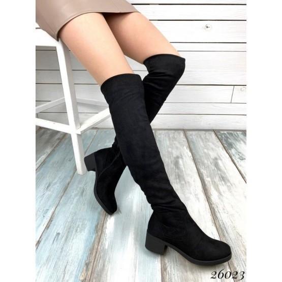 Женские замшевые черные ботфорты. деми. сапоги чулки сапожки эко-замш, на среднем небольшом устойчивом каблуке