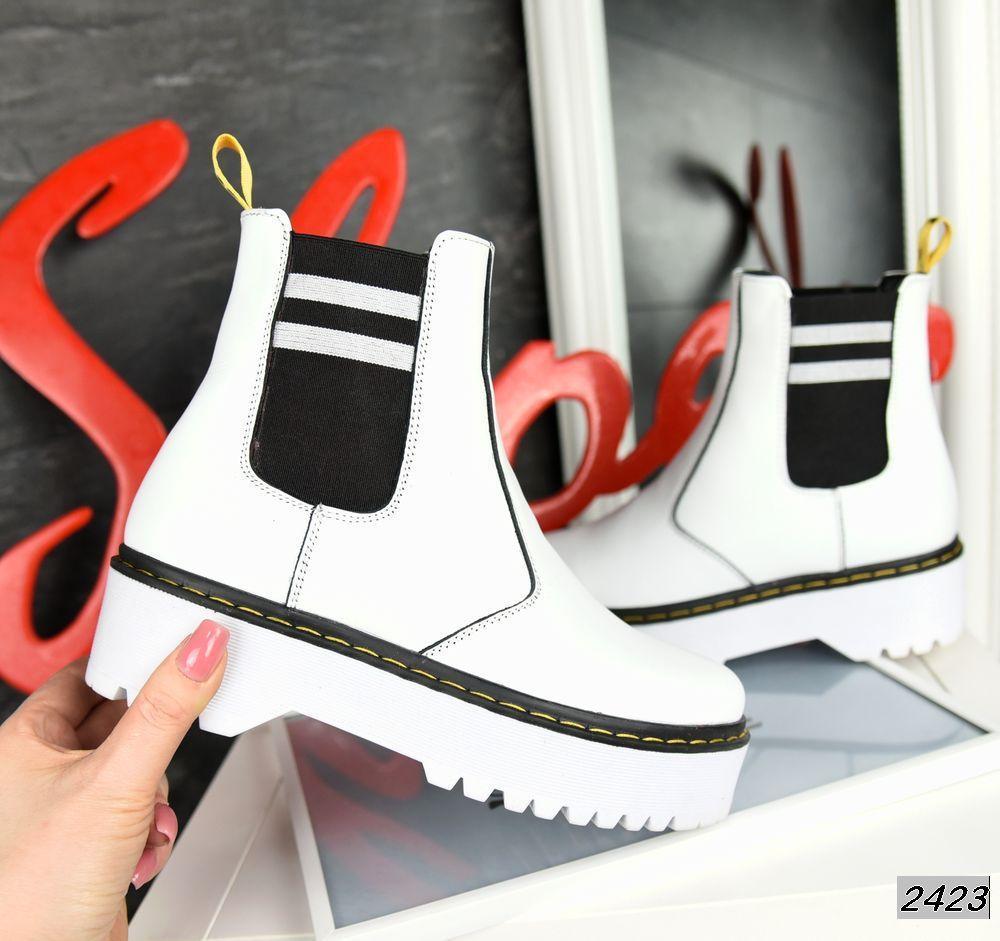 Молодёжные ботинки  из натуральной кожи 39,40 р белый