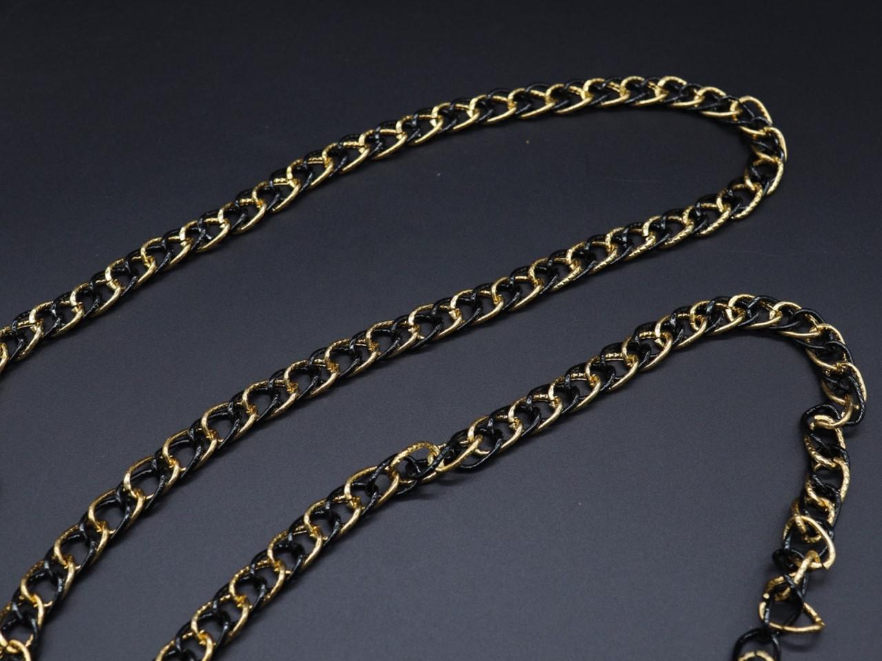 Цепочка для сумок. Цвет золото+черний. 12мм