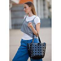 Кожаная плетеная женская сумка Пазл L угольно-черная