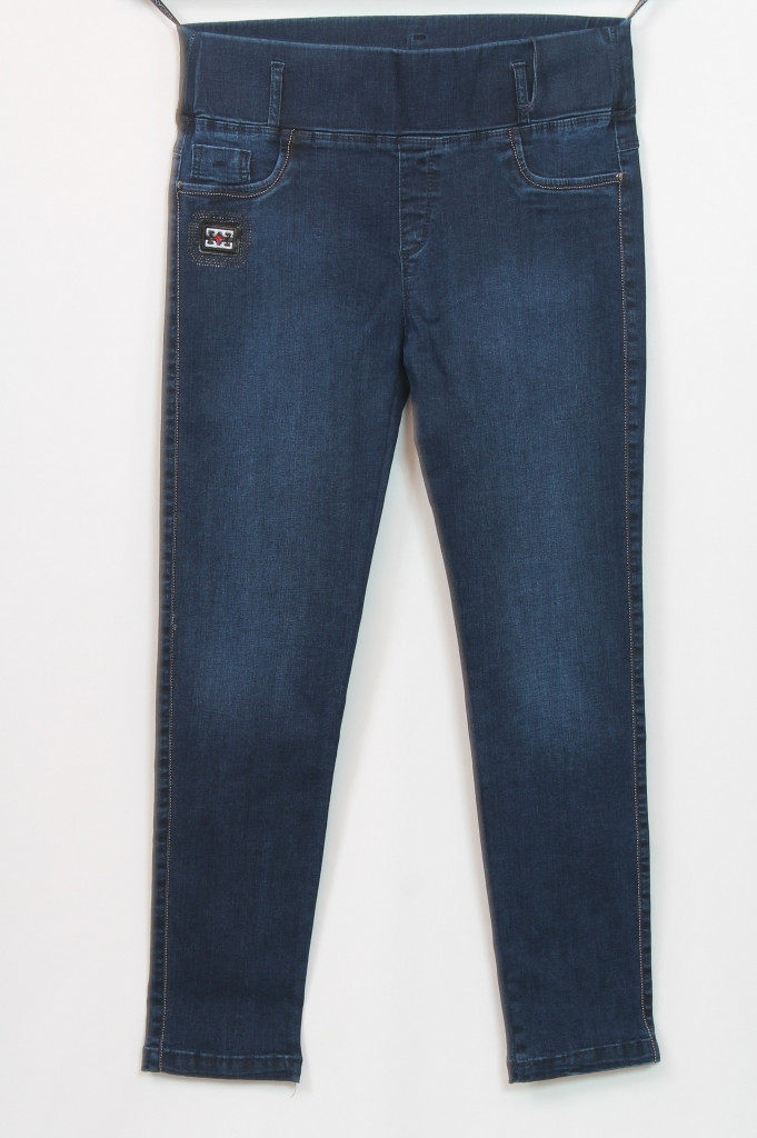 Турецкие женские синие джинсы на резинке, размеры 50-56