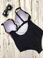 Сплошной женский купальник с цветочным принтом спереди и вырезом на спине 51KP353