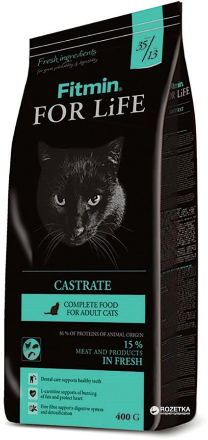 Сухой корм для  кaстрирoвaнных и стeрилизoвaнных кoшeк. Fitmin cat For Life Castrate, Чехия