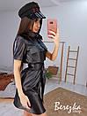 Кожаное платье рубашка по фигуре с коротким рукавом и поясом, на груди карманы 66py896Е, фото 2