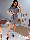 Кожаное платье рубашка по фигуре с коротким рукавом и поясом, на груди карманы 66py896Е, фото 6