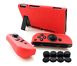 Силіконові чохли синій і червоний для Joy-Con Nintendo Switch + накладки на стіки / Скла / Плівки /, фото 4