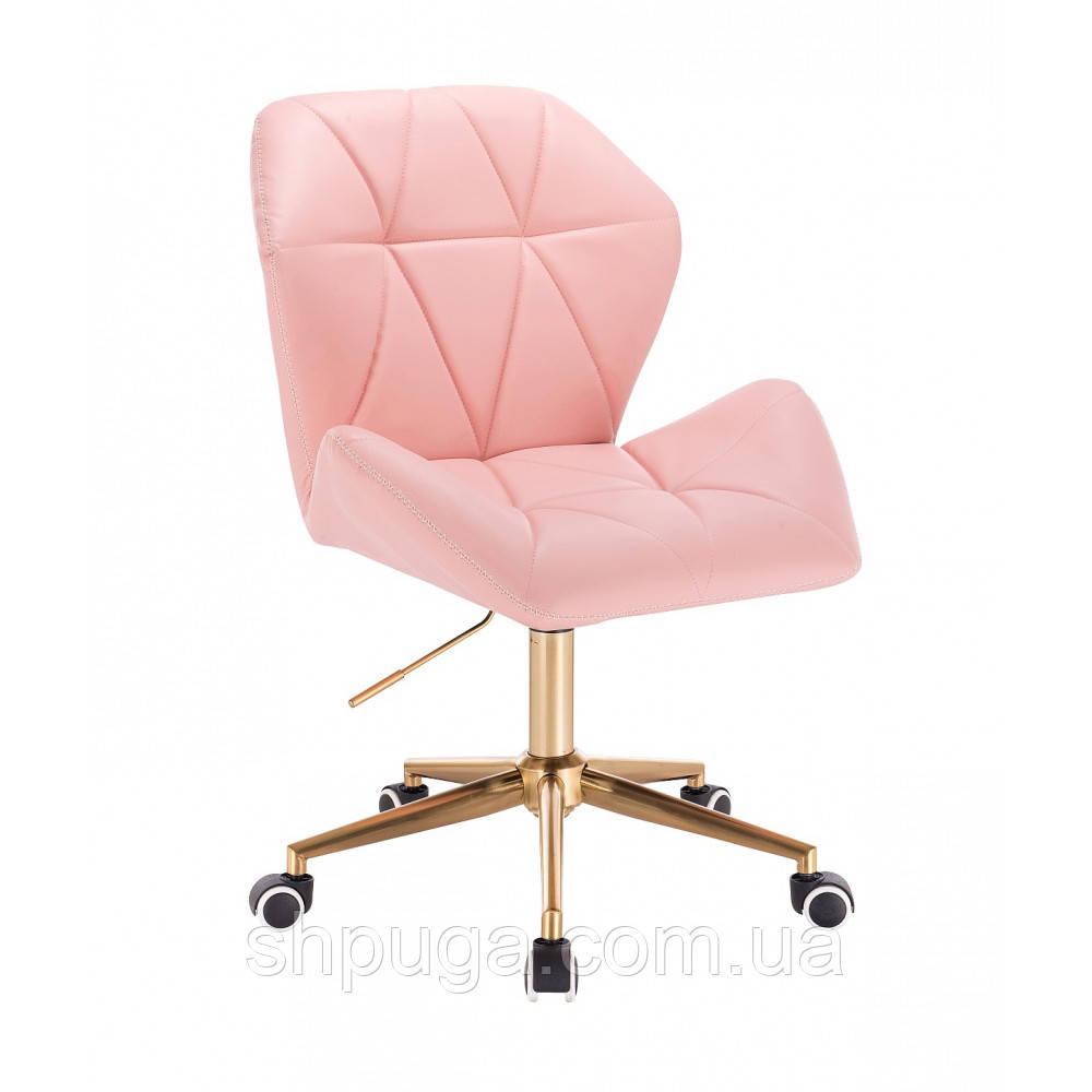 """Кресло  HR 212  розовое  эко-кожа  колеса """"золото""""."""