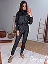 Женский кожаный брючный костюм с бомбером и штанами карго 66ks456Q, фото 2