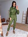 Женский кожаный брючный костюм с бомбером и штанами карго 66ks456Q, фото 3