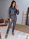 Женский кожаный брючный костюм с бомбером и штанами карго 66ks456Q, фото 4