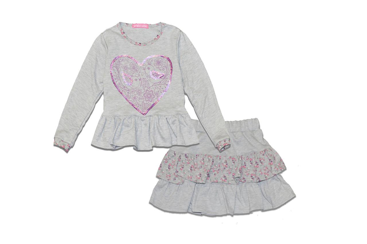 Комплект для девочки реглан и юбка р.116 SmileTime LoveBird, красный