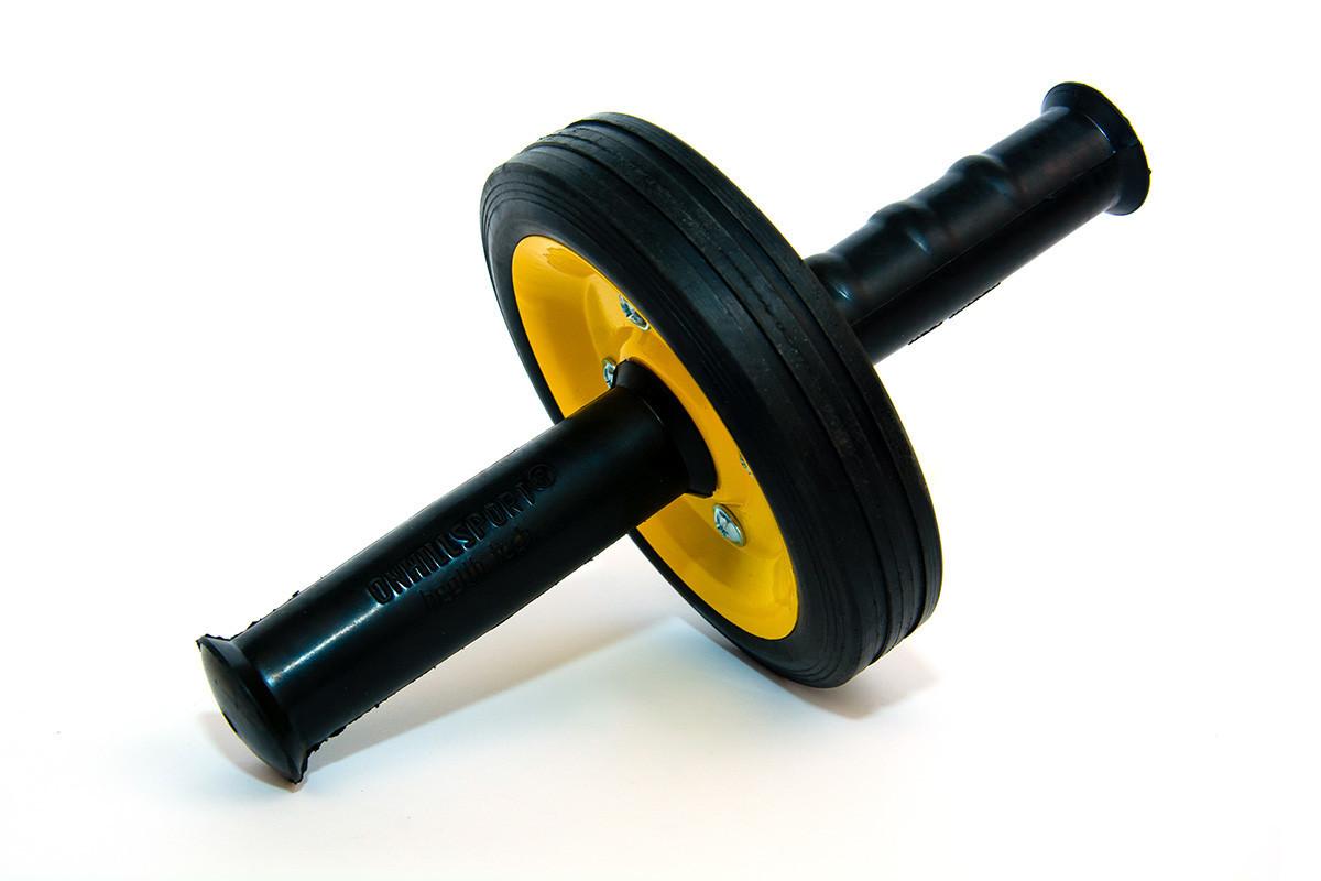 Ролик для пресса (резиновые ручки) желтый