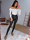 Женские черные кожаные лосины с молнией спереди и стрелками 66bu431Q, фото 2