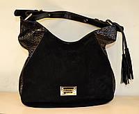 Женская сумка-торба черная замш