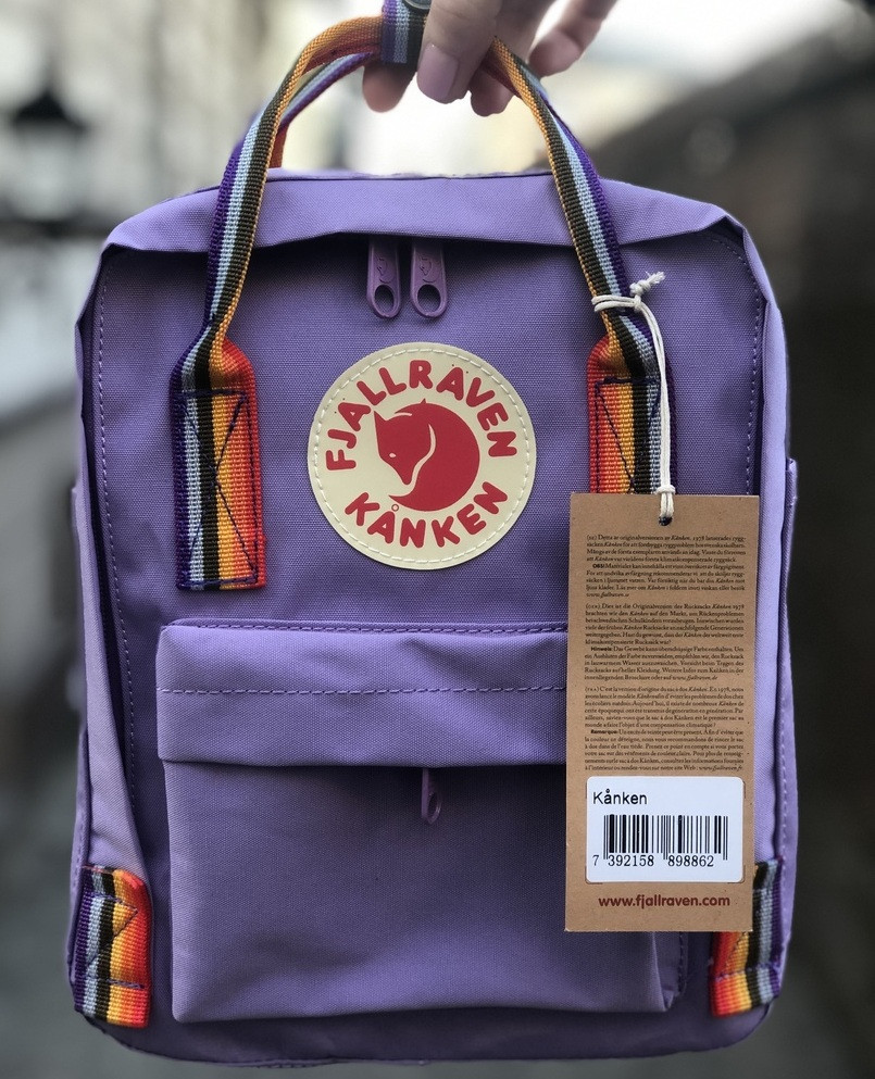 Рюкзак Канкен Fjallraven Kanken mini Violet Rainbow 7л. Живое фото. Премиум реплика