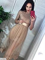 Нарядное трикотажное платье с накидкой из фатина под поясом арт 4168