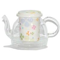 """Чайник стеклянный с фарфоровым ситом """"Клевер"""" 1000ML"""