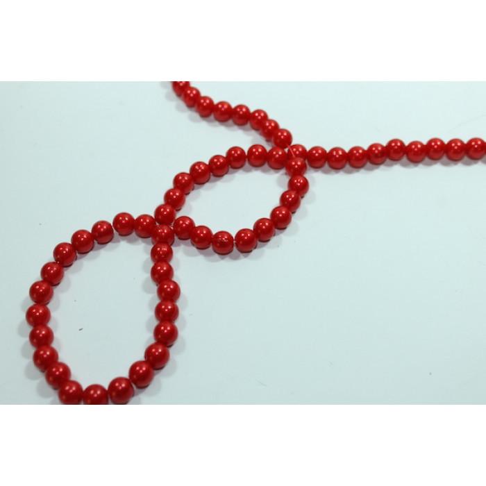 Бусины 12 мм, пластик, красные