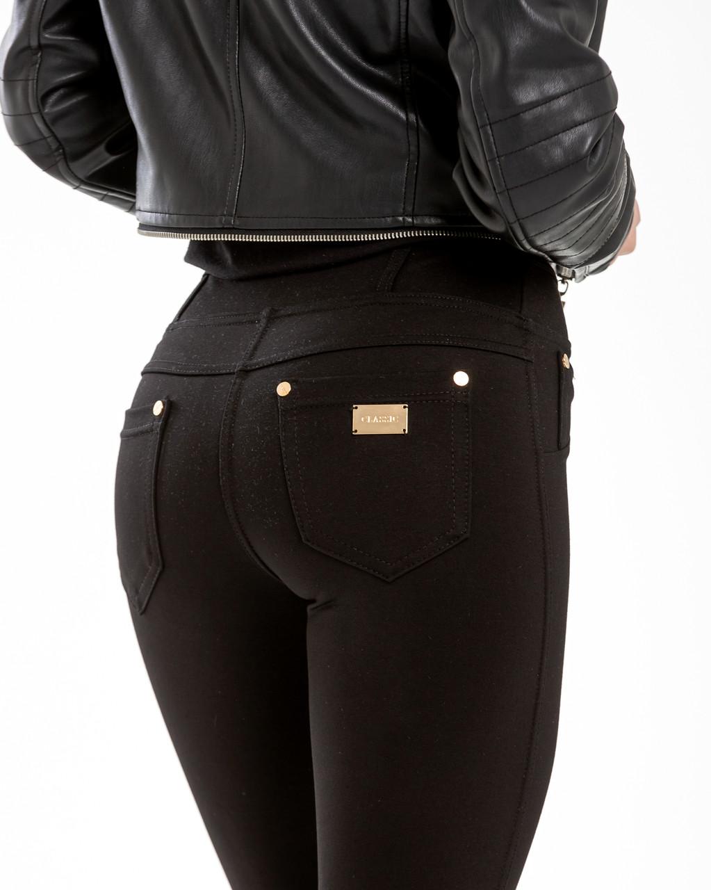 Лосины женские турецкий трикотаж чёрные с карманами №867