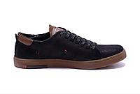 Мужские кожаные кеды Polo black and olive черные, фото 1
