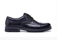Мужские кожаные туфли City USA black черные, фото 1