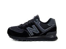 Женские кроссовки New Balance 574 замшевые кросы на шнуровке в черном цвете, ТОП-реплика