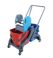 Тележка для уборки помещений на 2 ведра с отжимом ( 2*25 л) CK750-T на пластиковой раме с колесиками