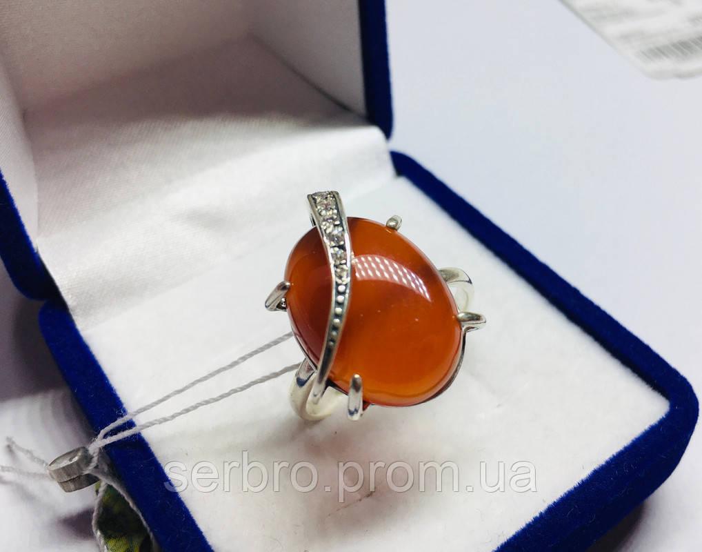 Кольцо с большим камнем сердолик серебро Филадельфия