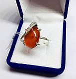 Кольцо с большим камнем сердолик серебро Филадельфия, фото 2
