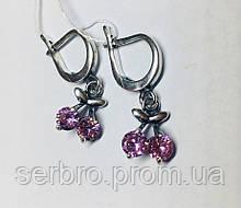 Детские серебряные сережки с розовым цирконом Вишенка