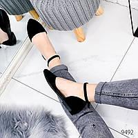Женские замшевые открытые туфли лодочки балетки с ремешком на низком каблуке черные, фото 1
