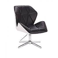 Кресло  косметическое  HR212 черно-белое , эко-кожа стопки .