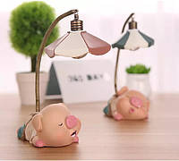 Фигурка розовый поросёнок светильник