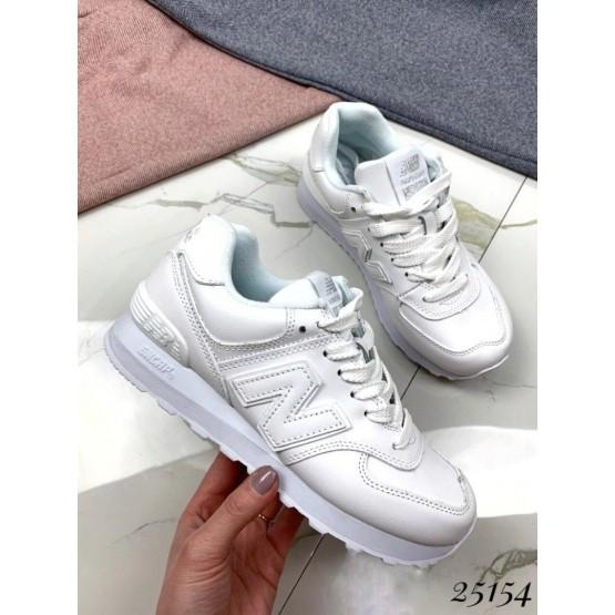 Женские белые кожаные кроссови NEW BALANCE деми, осенние, жіночі білі шкіряні кросівки, нат кожа