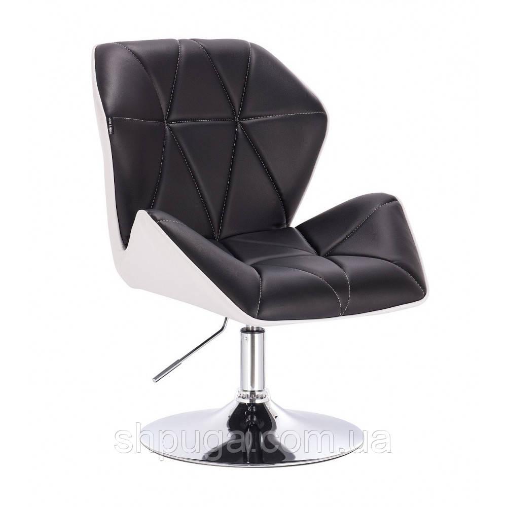Кресло  косметическое  HR212 черно-белое , эко-кожа диск.