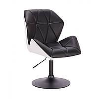 Кресло  косметическое  HR212 черно-белое , эко-кожа диск., фото 1