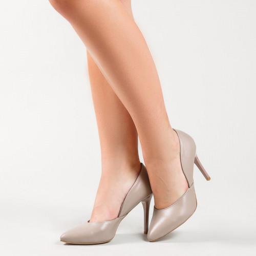 Классические бежевые туфли лодочки на каблуке 9 см кожа или замша