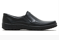 Мужские кожаные туфли на резинке 004 черные, фото 1