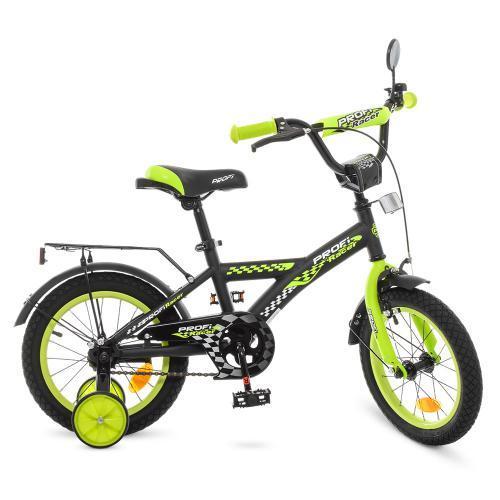 Двухколесный велосипед PROFI 14 дюймов Racer T1437 черно-салатовый