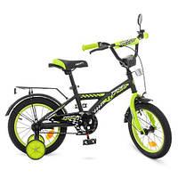 Двухколесный велосипед PROFI 14 дюймов Racer T1437 черно-салатовый, фото 1
