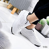 Женские стильные кроссовки  с перфорацией  force    белый с черным, фото 1