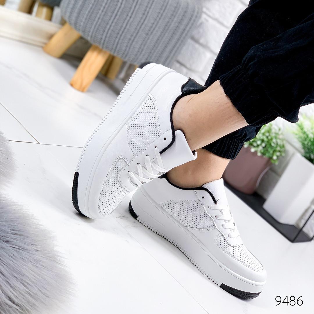 Женские стильные кроссовки  с перфорацией  force    белый с черным