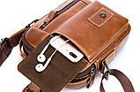 Сумка шкіряна чоловіча. Барсетка з натуральної шкіри (коричнева), фото 9