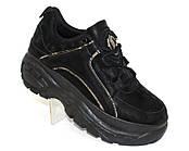 Черные замшевые кроссовки на толстой подошве