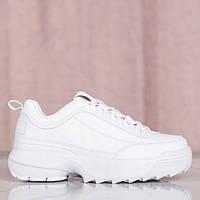 Женские белые кроссовки на толстой подовше