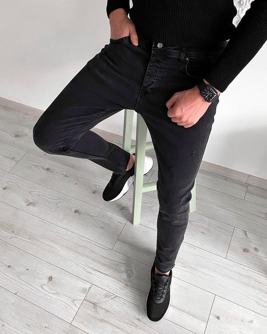 Мужские джинсы Сноуп черные осенние весенние. Живое фото