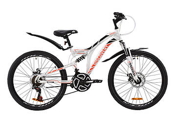 """Велосипед ST 24"""" Discovery ROCKET AM2 DD с крылом Pl 2020 (бело-оранжевый c черным)"""